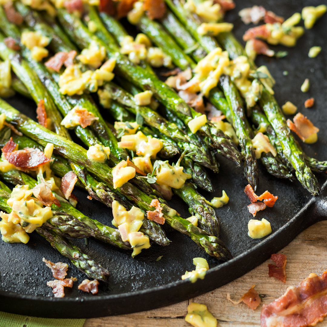 Grilled Asparagus With Bacon Vinaigrette Recipe — Dishmaps