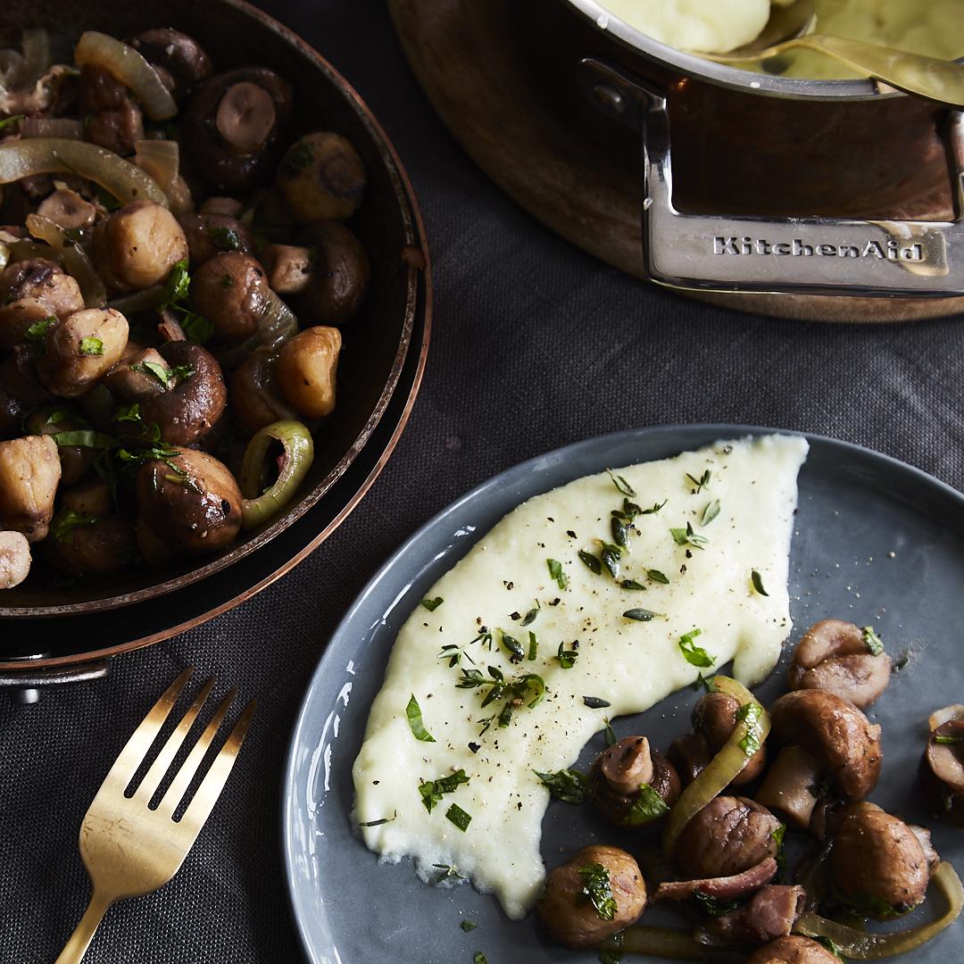 schnelle maronen champignon pfanne mit polenta. Black Bedroom Furniture Sets. Home Design Ideas