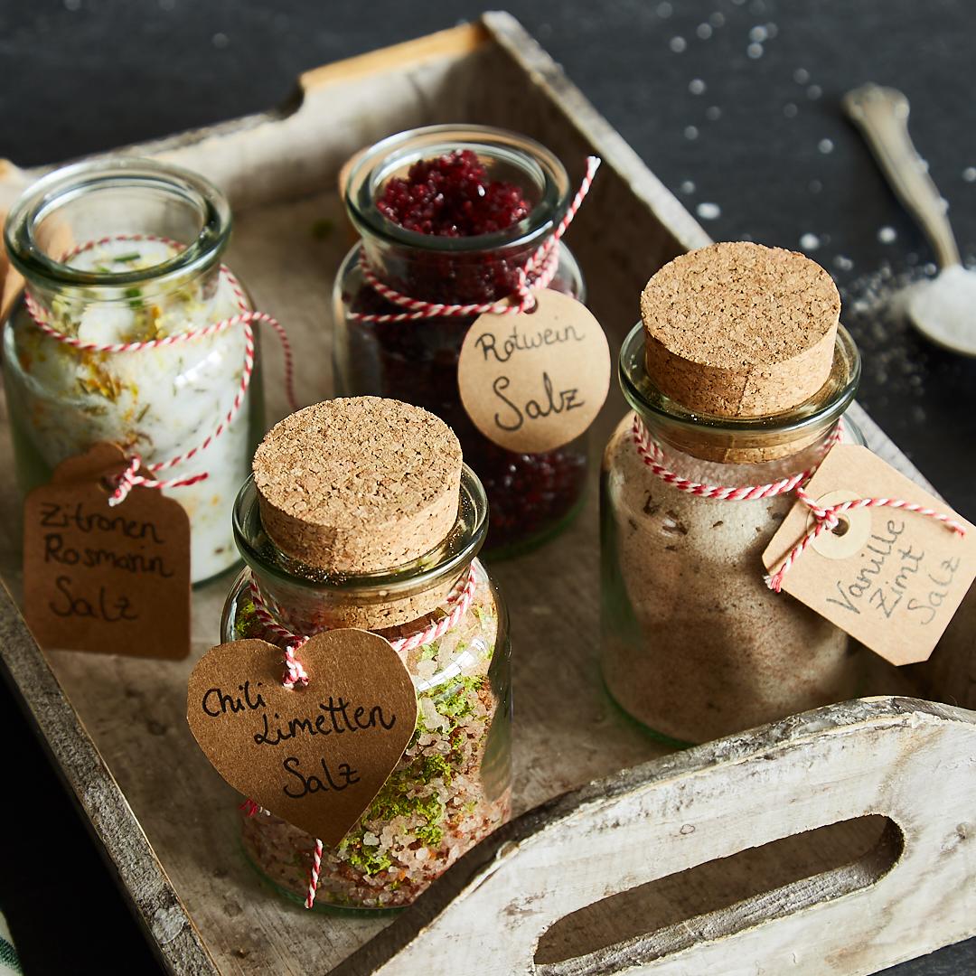 aromatisiertes salz in 4 sorten zum verschenken. Black Bedroom Furniture Sets. Home Design Ideas