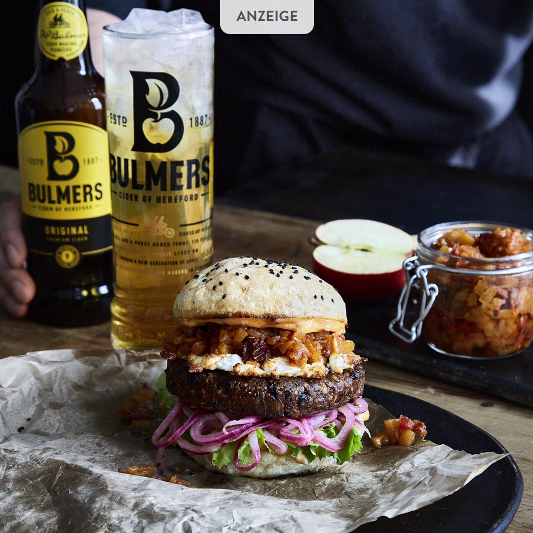 Cider-Veggie-Burger mit Apfel-Chutney