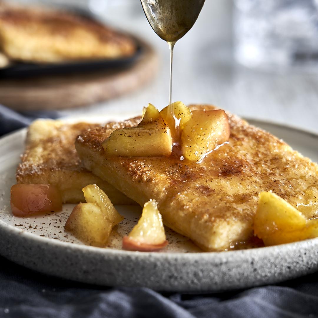 Armer-Ritter-Raclette mit karamellisierten Äpfeln