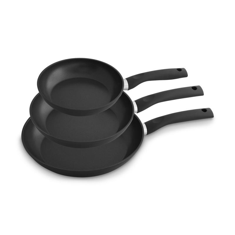Pfannenset Aluminium geschmiedet 3-teilig in schwarz