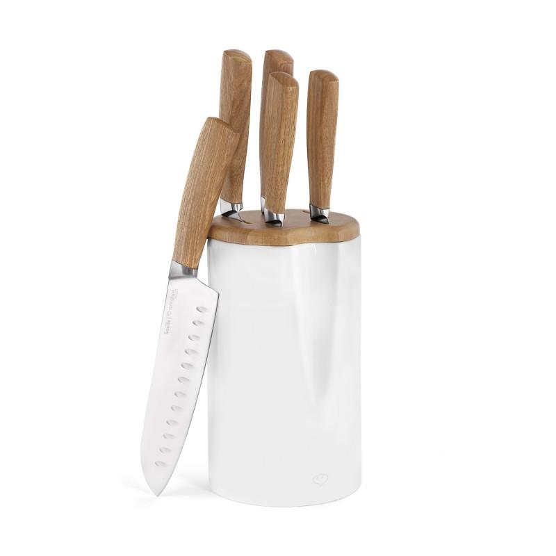 Smilla Messerblock 6-teilig in der Farbe weiß-braun