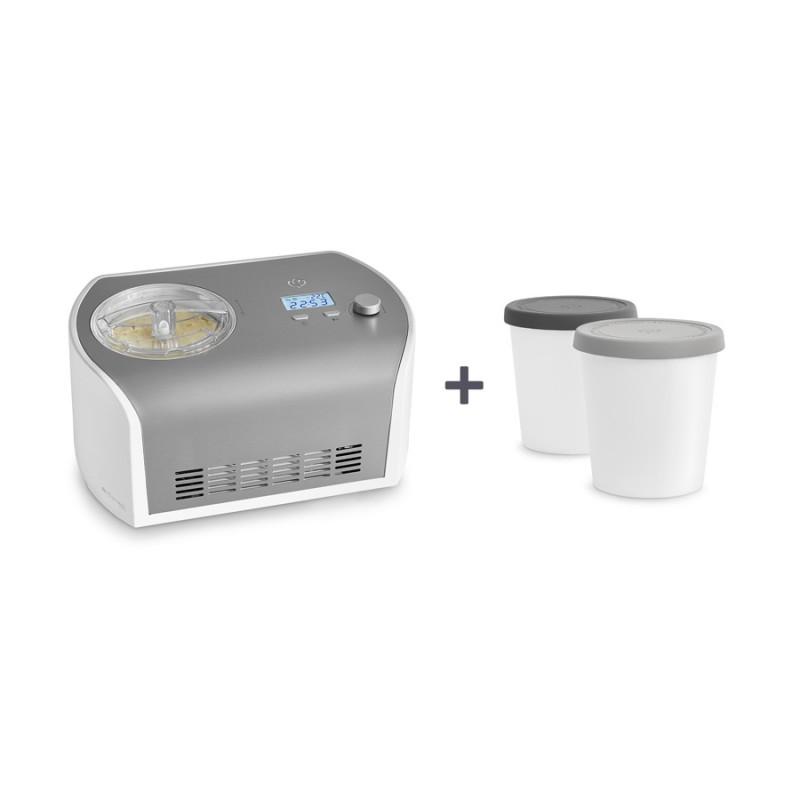 Elli — Eismaschine mit Kompressor 1,2 l inkl. Aufbewahrungsbehälter 2er-Set