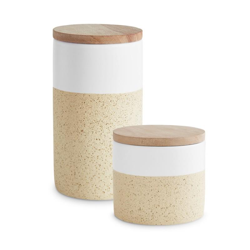 Keramik Vorratsdosen-Set mit Holzdeckel — Soft Sand 2-tlg.