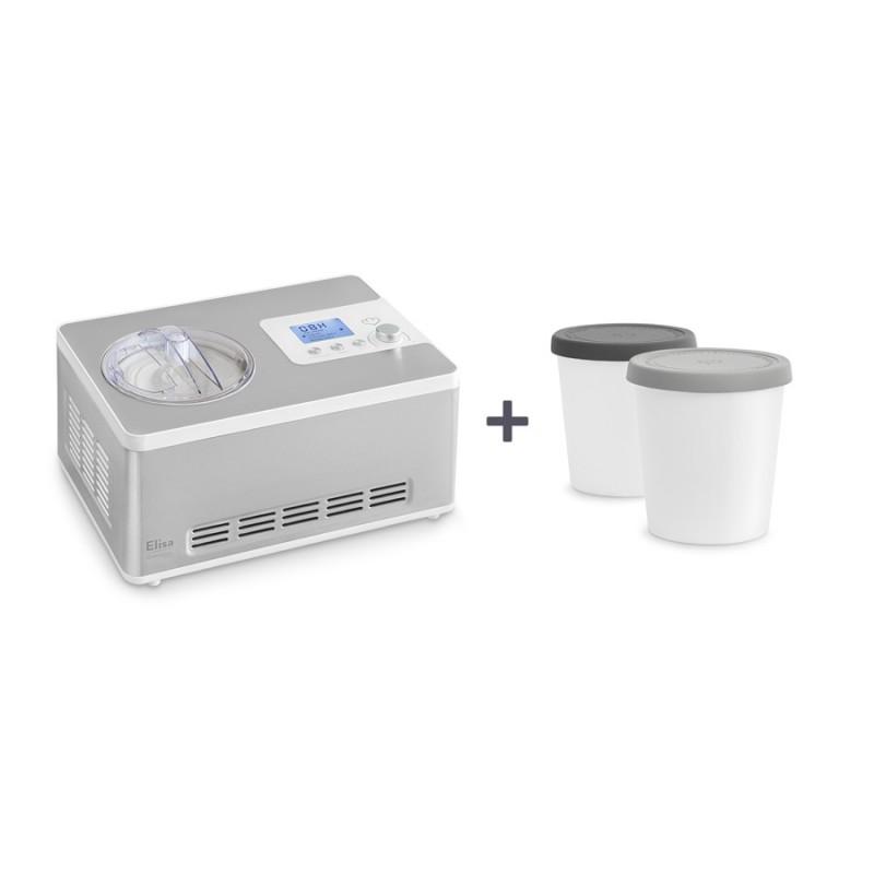 Elisa — 2-in-1 Eismaschine und Joghurtbereiter inkl. Aufbewahrungsbehälter 2er-Set