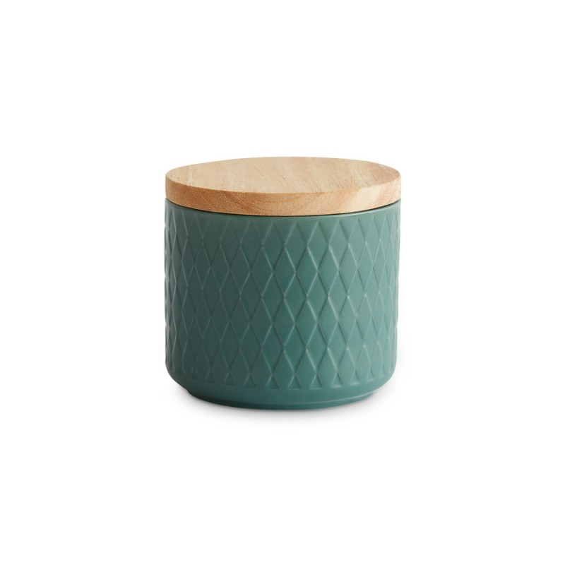 Keramik Vorratsdose mit Holzdeckel — Nordic Reef 10,1 x 9,3 cm