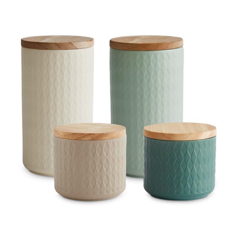Die Springlane Keramikdosen mit Holzdeckel aus der Serie Nordic Reef