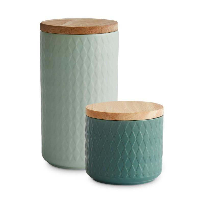 Das 2er Set unserer grünen Keramikdosen besteht aus zwei unterschiedlichen Größen