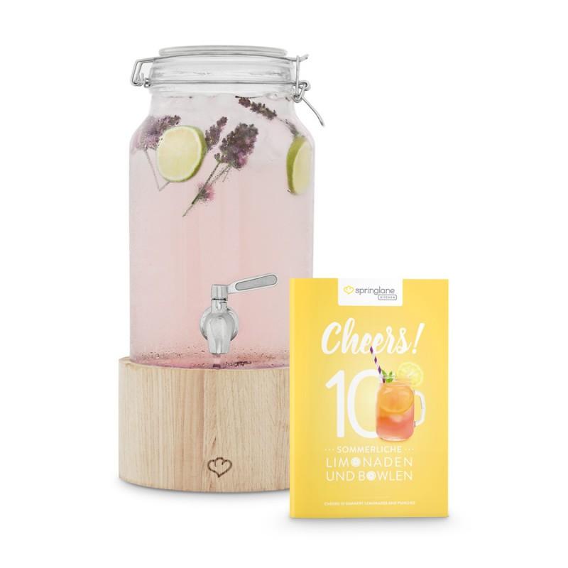Greta – Glas Getränkespender 3,8 l mit Zapfhahn und Holzständer