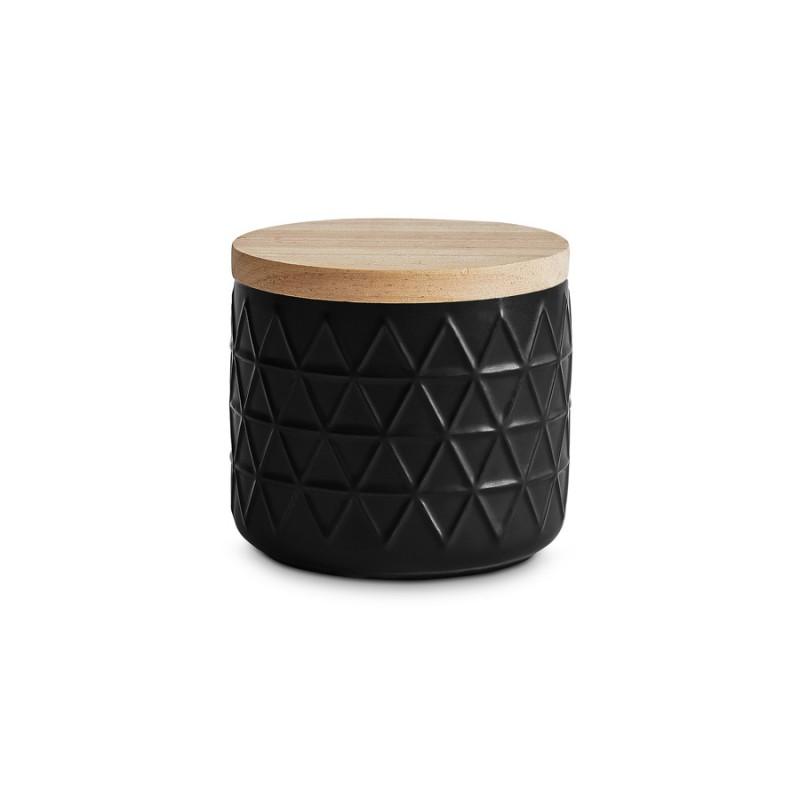 schwarze 400 ml Monochrome Keramik Vorratsdose mit Holzdeckel