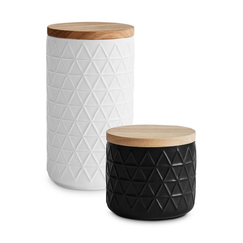 Keramik Vorratsdosen Monochrome im 2er Set in den Farben schwarz und weiß