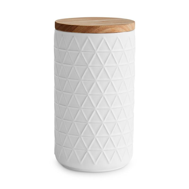 Keramik Vorratsdose mit Holzdeckel — Monochrome 10,1 x 18,3 cm