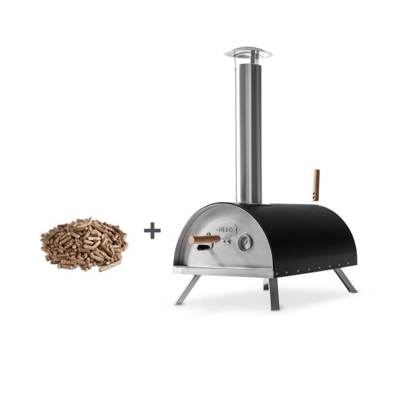 Burnhard Outdoor Pizzaofen Nero inklusive Pellets