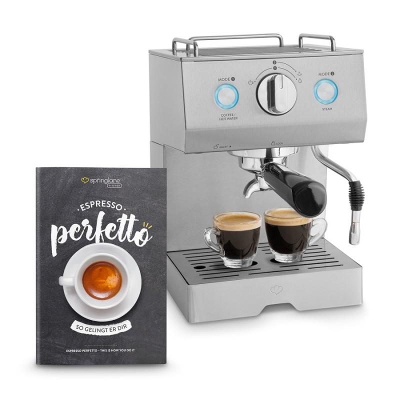 Espresso-Maschine Emilia von Springlane mit Siebträger in Silber